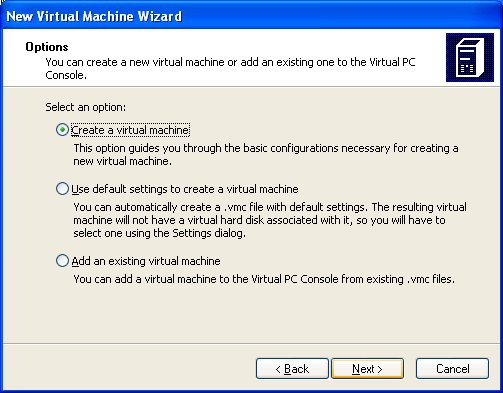 "Choose ""Create a Virtual Machine"""