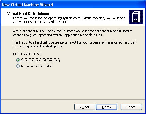 Select 'Existing Virtual Hard Disk'